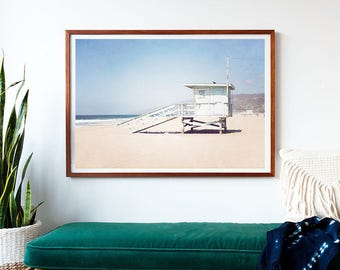 photography large art extra large print framed art print coastal decor california lifeguard tower malibu extra large wall art