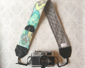 Personalized DSLR Camera Strap, Padded with Lens Cap Pocket, Nikon, Canon, DSLR Photography, Photographer Gift - Teal Moroccan with Gray
