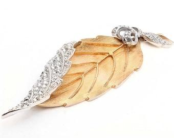 Large AVON of BELLEVILLE (Marcel Boucher) Crystal Rhinestone Leaf-Shaped Vintage Brooch - Inventory # 5727