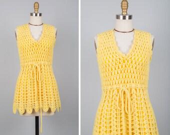 60s Crochet Tunic XS • Wool Tunic • 60s Mini Dress • Crochet Top • Yellow Top • Tunic Top • Vintage Top • 70s Top | D978