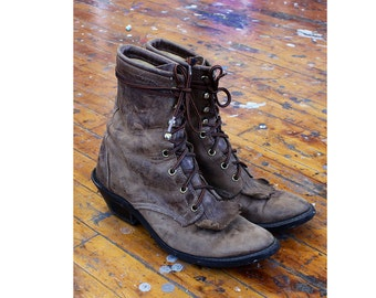 Laredo Boots 8 • Vintage Boots • Distressed Leather Boots • Heeled Boots • Lace Up Boots • Brown Boots • 80s Boots • Heeled Boots | SH436