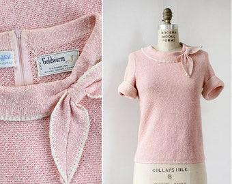 Goldworm Bow Top S • Short Sleeve Sweater • Linen Sweater • Spring Sweater • 60s Sweater • Spring Sweater • Boxy Top | T548