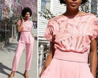 Crochet Jumpsuit S • 80s Jumpsuit • Vintage Jumpsuit • Pink Jumpsuit • Summer Romper • Beach Outfit | D1302