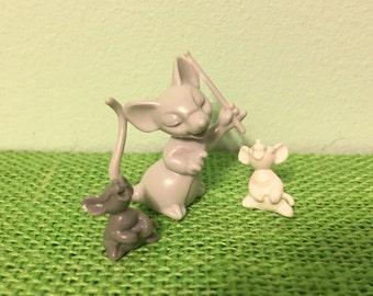 Musical Mice Plastic Miniature Vintage Craft Supplies
