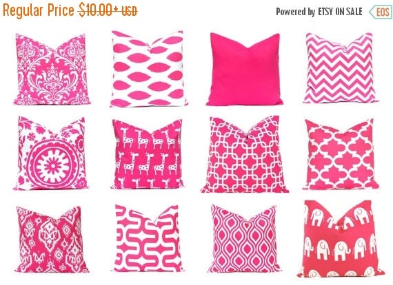 20% Off Sale Hot Pink Pillow Cover - Decorative Pillow Cover - Solid, Ikat and Nicole - Pink Cushion Cover - Hot Pink Cushion - Pink Chevron