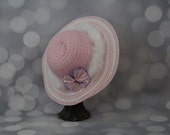 Tea Party Hat; Pink Easter Bonnet with Boa; Girls Sun Hat; Pink Easter Hat; Sunday Dress Hat; Derby Hat; 16302