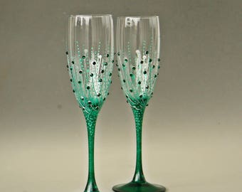 Champagne Flute, Wedding Glasses, Champagne Glasses, Green Glasses, Emerald Wedding, Hand Painted, Set of 2