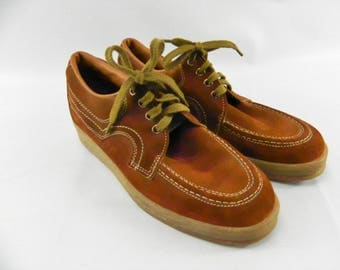 Vintage 1970s Sunbacker Men's Size 7 1/2 Casual Brown Leather Shoes Lace Up