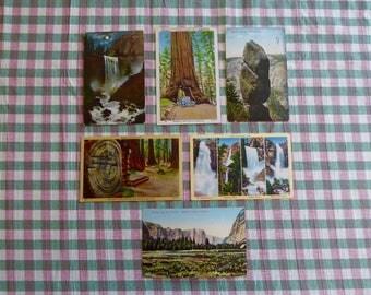 YOSEMITE National Park Lot of 6 ORIG. Vintage Postcards  Falls Big Trees Yosemite Valley Mariposa Wahwona L2