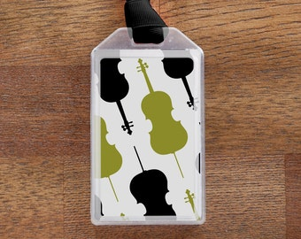 Luggage Tag or Instrument Case ID for Cello players - Green and Black