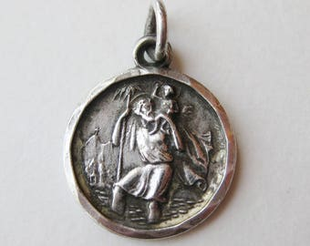 Vintage 40s Sterling Silver St. Christopher Protect Us Mini Charm Necklace Pendant