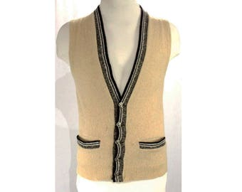 Men's Small Sweater Vest - 1950s Hipster Sleeveless Mens Lamb's Wool Knit - Heathered Taupe with 50s Atomic Era Buttons - Chest 38 - 48821