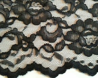 Black Floral Lace Fabric About 2 Yards  X0682