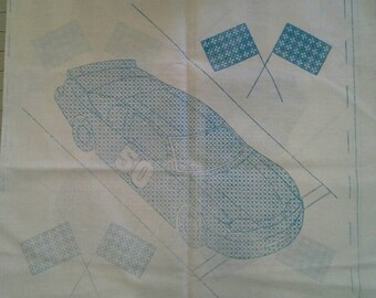 """Stamped Cross Stitch Embroidery Fabric Panel,Set of 2 18' X 18"""", Race Car X0766"""