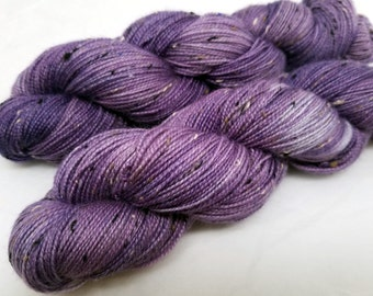 Flirt, Lavender Lilac Mauve Purple, ColorPurl Finnegan Hand Dyed Yarn,  BFL Bluefaced Leicester Donegal Tweed, Sock Weight, 438 Yards