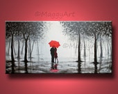large abstract painting,original acrylic wall art,kissing in rain, black white red,love couple,18x36inch,great wedding gift,ready to hang