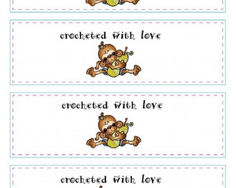 Printable Crochet Labels - Custom Tags and Labels - Crochet Gift Labels - PDF Wrapper Labels