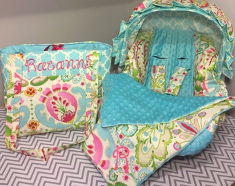 4pc On-the-Go set made with Kumari gardens floral fabric Infant Car Seat Cover with Visor and Diaper Bag with Free Monogram blankie too aqua