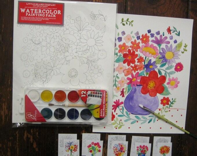 Flowers Watercolor Painting Pack