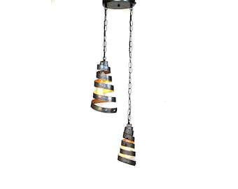 "CORBA  -  ""Binate"" -  Pendant Light Double Wine Barrel Lights -100% Recycled"