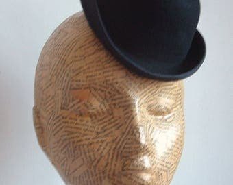 Felt Mini Bowler Hat  - Black Millinery Supplies/Hat Making/Steam Punk/Photo prop