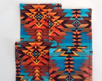 Mug Rugs Southwest Design Set of 4 Handmade Cotton Coasters Mug Mats  Gift for Hostess Gift for Her Gift for Him
