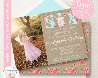 Fairy Invitation, Fairy Birthday Invitation, Fairy Party, Girls Fairy Birthday, Girl Birthday, Printable Fairy Photo Invite BeeAndDaisy KP01