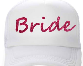 bride hot pink glitter hat - snap back bride hat - white and hot pink bachelorette baseball cap - cute summer bridesmaid baseball caps