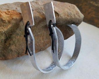 Hammered hoop earrings, edgy jewelry, minimalist, silver hoops, large hoops, aluminum jewelry