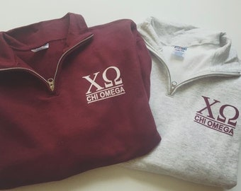 New Chi Omega Stripe Quarter Zip Sweatshirt // Size Small-2XL // Pick Your Color