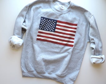 New USA American Flag Retro Sport Gray Crewneck Sweatshirt Pullover // Size S-2XL