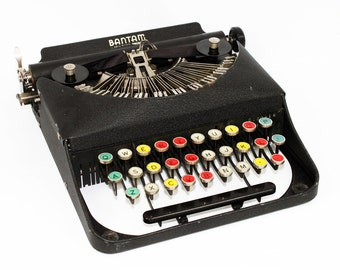 Antique Bantam Typewriter with Color Keys by Remington in the Original Case Fully Serviced Working Typewriter