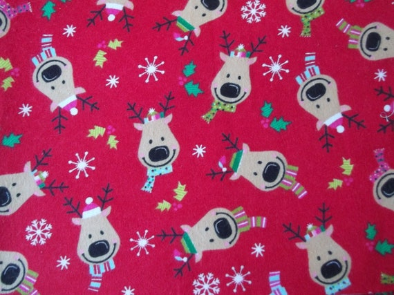 Christmas reindeer cotton flannel flannel fabric for Children s flannel fabric by the yard