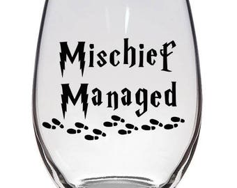 Michief Managed Stemless Wine Glass, Cute Wine Glasses, Wine Glasses, Funny Wine Glasses, Gifts for her, Witty Wine Glass