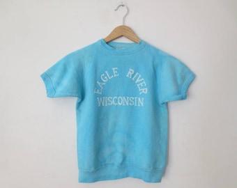 Vintage '70s Eagle River, Wisconsin Short Sleeve Sweatshirt, Enco Originals, XS