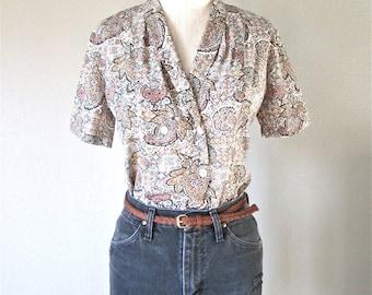 Vintage 90's hipster blouse BROWN PAISLEY short sleeved secretary shirt - S/M