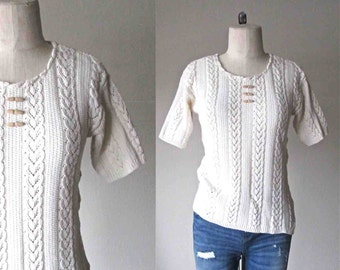 Vintage boho sweater CREAM CABLEKNIT short sleeve - S/M