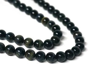 natural blue tigereye beads, 8mm round gemstone, full & half strands available  (1198S)