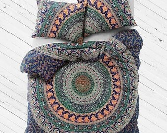 Indian Mandala Tapestry Boho Bedding Duvet Cover Flat Sheet Set with Matching Pillowcases Gypsy Bedding Dorm Room Bedding Beach Bedding Yoga