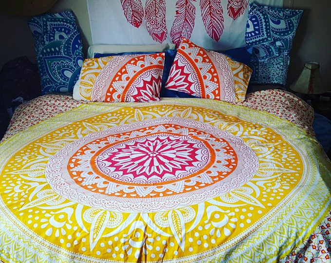 Red Orange and Yellow Mandala Duvet Cover or Flat Sheet Set with Matching Pillow Cases Hippie Boho Bedding College Bedding Gypsy Bedding