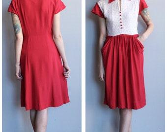 1940s Dress // Sweetheart Crepe & Lace Dress // vintage 40s dress