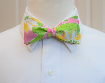 Men's Bow Tie, Classic Lilly Croc Monsieur, pink green bow tie,  prom bow tie, wedding bow tie, preppy bow tie, alligator bow tie, self tie