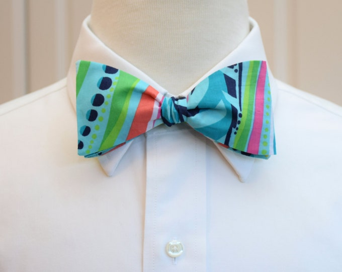 Men's Bow Tie, Lilly Sea Me blue bow tie, Carolina Cup bow tie, Derby bow tie, groom bow tie, wedding bow tie, prom bow tie, self tie bowtie