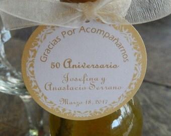 "50 Spanish Wedding Anniversary Custom 2"" Favor Tags - Gracias Por Acompañarnos - For Mini Wine or Champagne Bottles - Gift Tag"