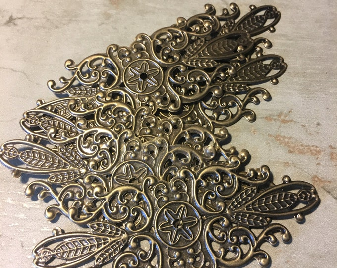 Antiqued Brass Filigree for Beacelets or Necklaces