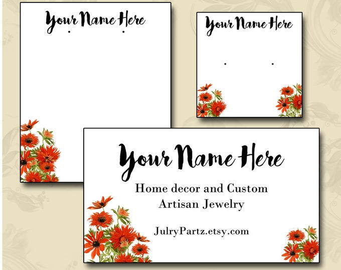 RED ZINNIA•Earring Card•Jewelry cards•Earring Display•Earring Holder•Necklace Holder•Custom Earring Card
