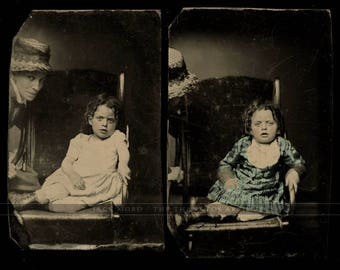 Two Tintypes - Cute Little Girl - Hidden / Photobombing Mom