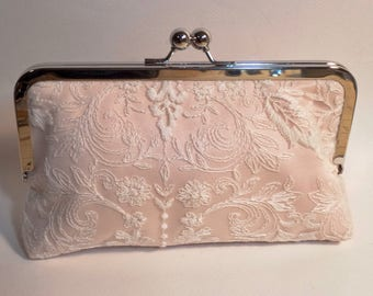 Blush Pink Bridal Clutch | Blush Pink with Lace Overlay
