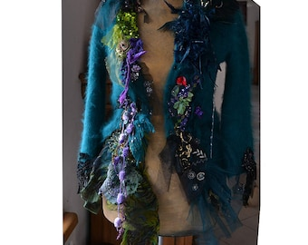 Unique Art To Wear Soft Angora Teal Jacket The FIRST  FLOWERS on the SWAMP Dep Forest Fairy Tattered Boho Gipsy