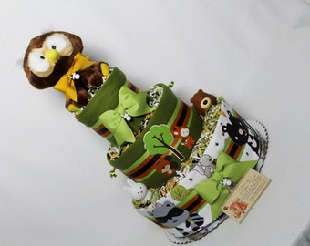 Woodland Animals Baby Diaper Cake Shower Gift Centerpiece Owl Topper Neutral